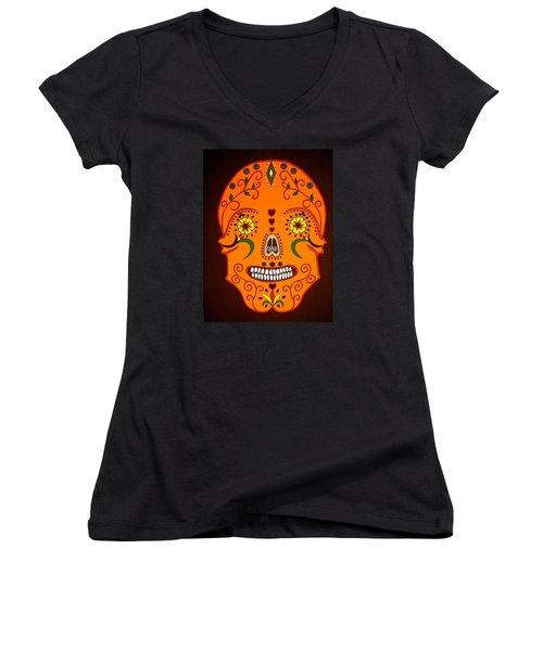 Orange Sugar Skull Women's V-Neck T-Shirt