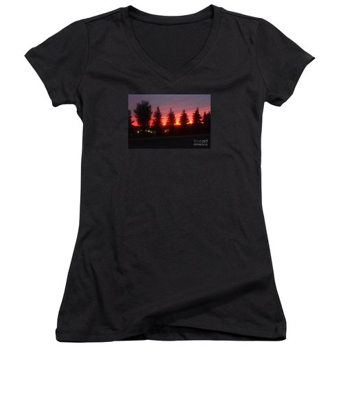 Women's V-Neck T-Shirt (Junior Cut) featuring the photograph Orange Sunset by Christina Verdgeline