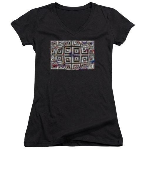 Women's V-Neck T-Shirt (Junior Cut) featuring the digital art Orb by Cynthia Lagoudakis