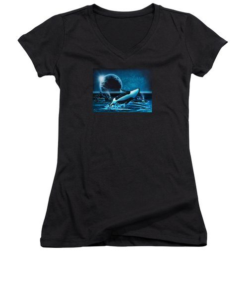 Orcas At Night Women's V-Neck T-Shirt