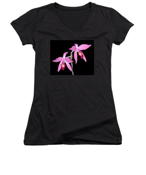 Orchid 1 Women's V-Neck T-Shirt (Junior Cut)