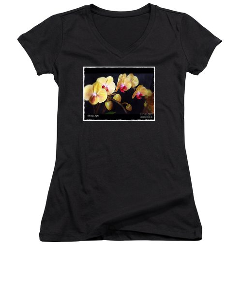 Orchids Arise Women's V-Neck T-Shirt (Junior Cut) by Becky Lupe