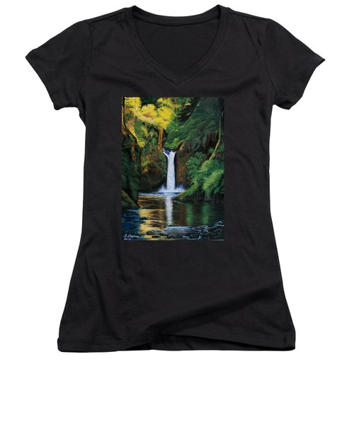 Oregon's Punchbowl Waterfalls Women's V-Neck T-Shirt (Junior Cut) by Sharon Duguay