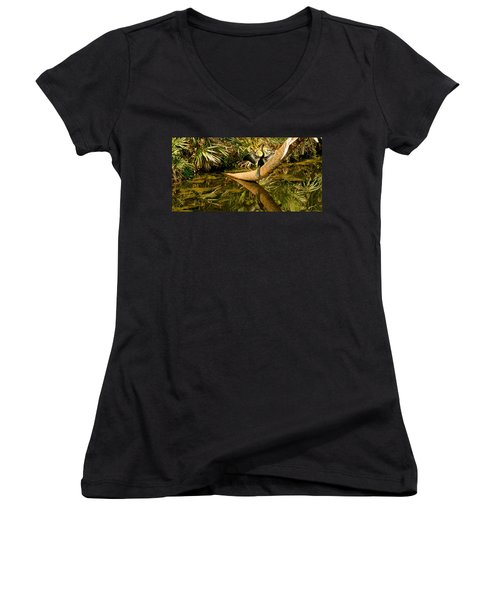 Oriental Darter Anhinga Melanogaster Women's V-Neck T-Shirt (Junior Cut) by Panoramic Images