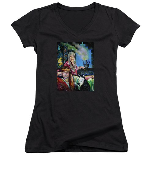 Women's V-Neck T-Shirt (Junior Cut) featuring the painting Oriental Fairy Tale. First Part by Anna  Duyunova