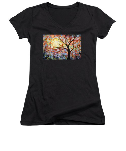 Women's V-Neck T-Shirt (Junior Cut) featuring the painting Original Painting Print Titled Celestial Sunset by Amy Giacomelli