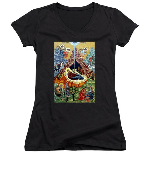 Orthodox Nativity Of Christ Women's V-Neck T-Shirt (Junior Cut) by Munir Alawi