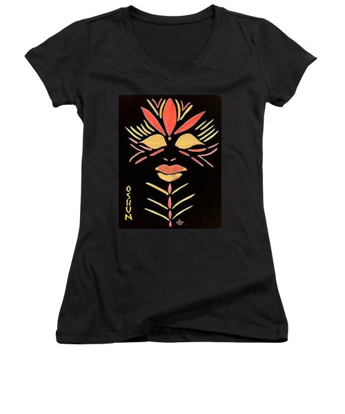 Women's V-Neck T-Shirt (Junior Cut) featuring the painting Oshun by Cleaster Cotton