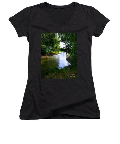 Our Fishing Hole Women's V-Neck T-Shirt (Junior Cut) by Peter Piatt