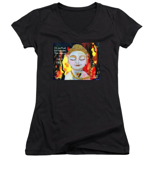 Our Mind Sets Us Free Women's V-Neck (Athletic Fit)