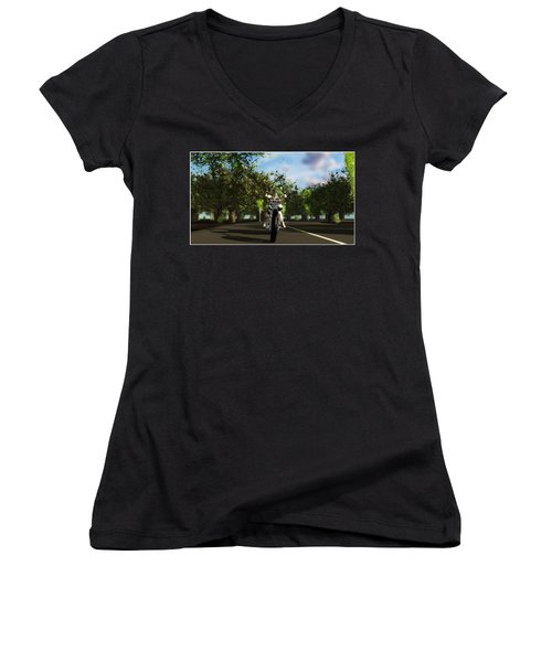 Women's V-Neck T-Shirt (Junior Cut) featuring the digital art Out For A Ride... by Tim Fillingim