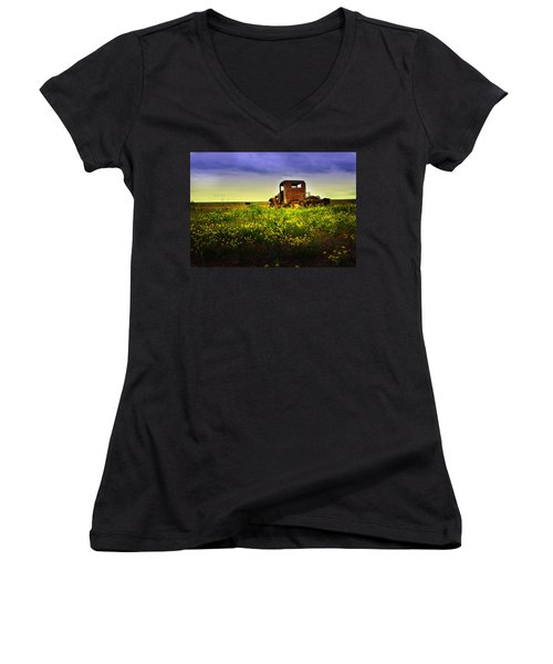 Women's V-Neck T-Shirt (Junior Cut) featuring the photograph Out To Pasture by Sonya Lang