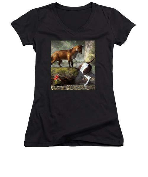 Outfoxed Women's V-Neck (Athletic Fit)