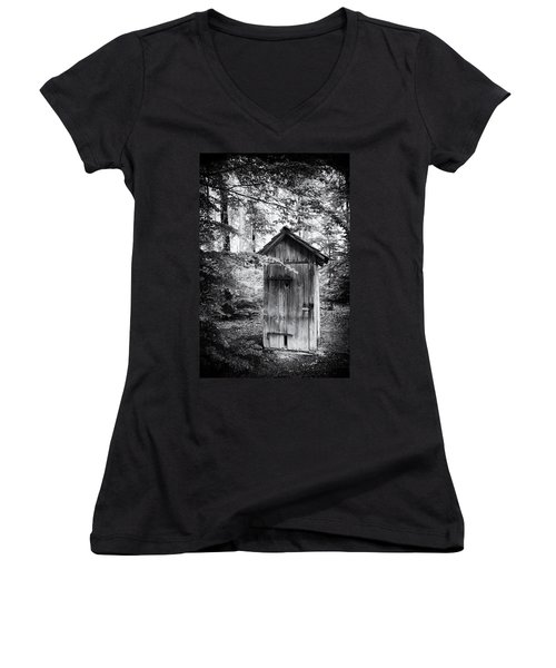 Outhouse In The Forest Black And White Women's V-Neck