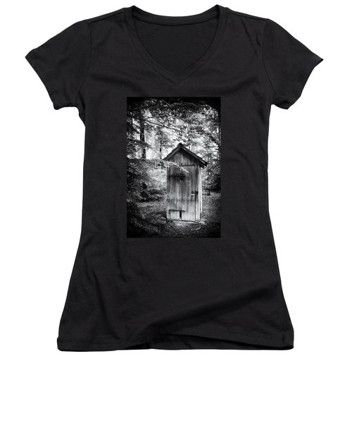 Outhouse In The Forest Black And White Women's V-Neck (Athletic Fit)