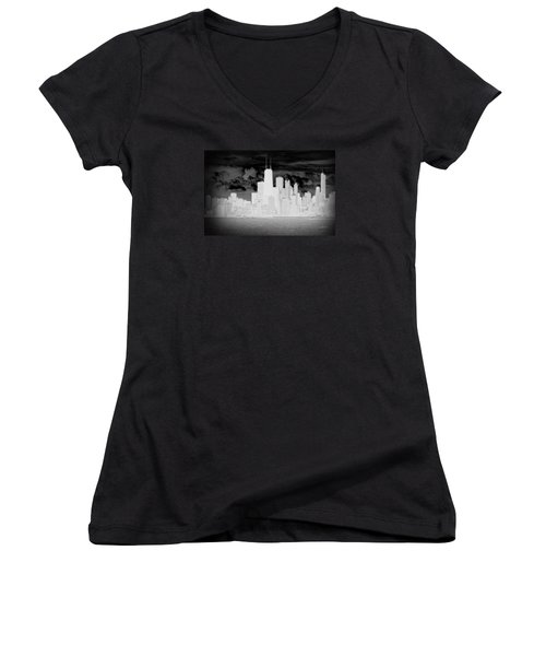 Women's V-Neck T-Shirt (Junior Cut) featuring the photograph Outline Of Chicago by Milena Ilieva