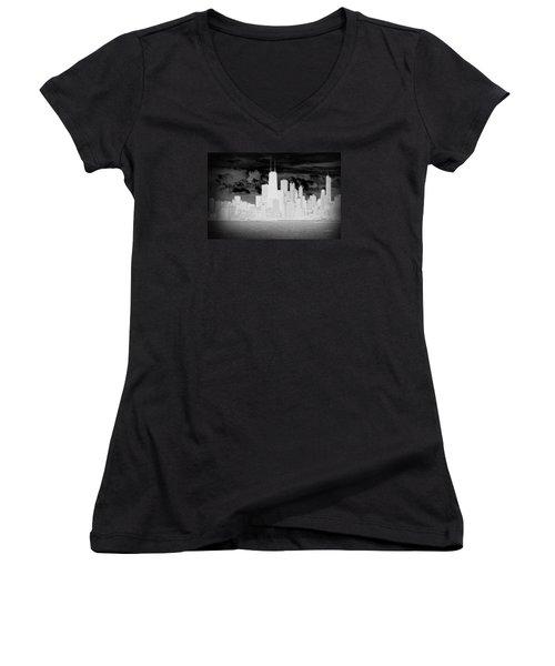 Outline Of Chicago Women's V-Neck T-Shirt (Junior Cut) by Milena Ilieva