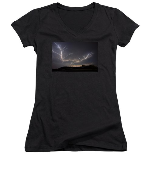 Women's V-Neck T-Shirt (Junior Cut) featuring the photograph Over The Lake by Charlotte Schafer