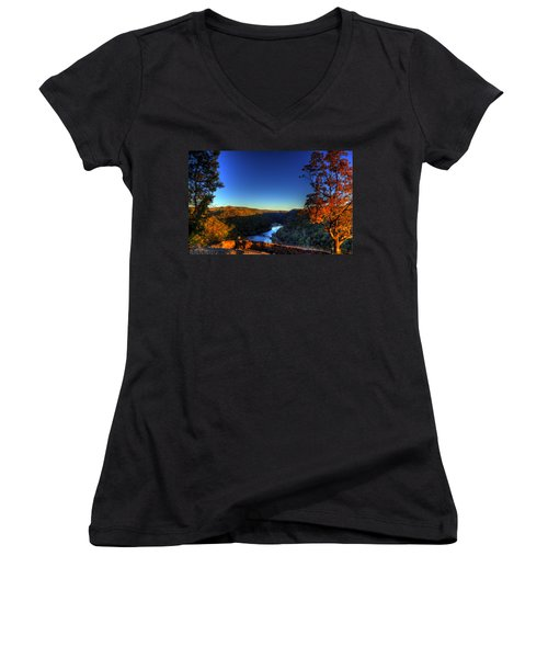 Women's V-Neck T-Shirt (Junior Cut) featuring the photograph Overlook In The Fall by Jonny D