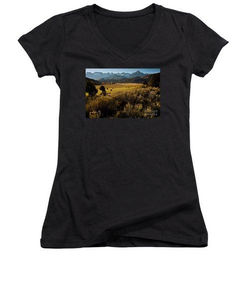 Overlook To Mt. Sneffles Women's V-Neck T-Shirt (Junior Cut) by Steven Reed