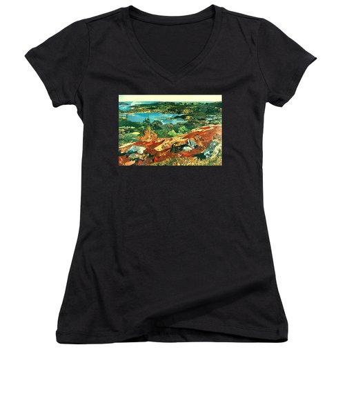 Overlooking The Bay Women's V-Neck T-Shirt (Junior Cut) by Robin Birrell