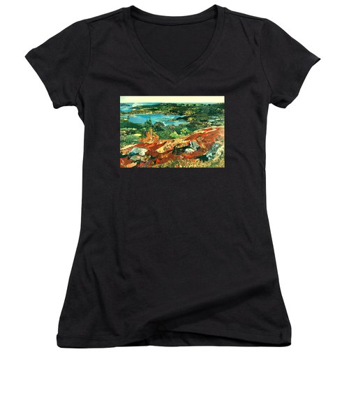 Overlooking The Bay Women's V-Neck T-Shirt