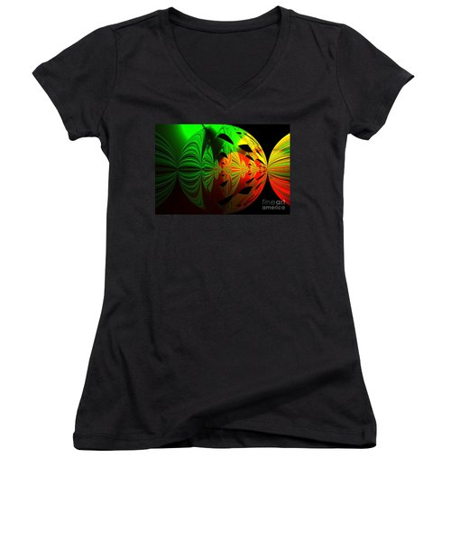 Art. Unigue Design.  Abstract Green Red And Black Women's V-Neck