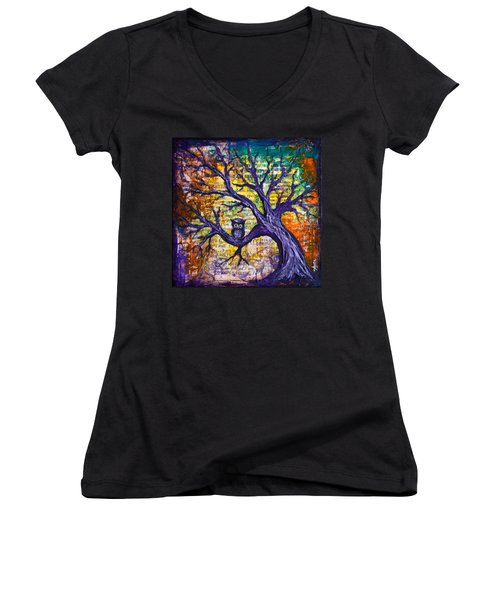 Wisdom Of Gratitude Women's V-Neck T-Shirt (Junior Cut)