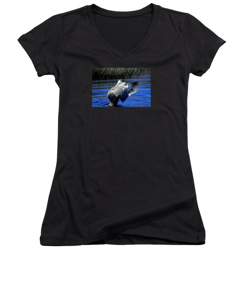 Women's V-Neck T-Shirt (Junior Cut) featuring the photograph Pacific Black Duck by Miroslava Jurcik