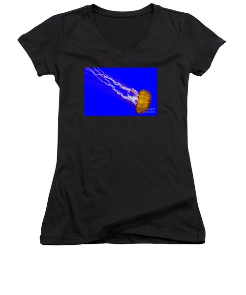 Women's V-Neck T-Shirt (Junior Cut) featuring the photograph Pacific Sea Nettle by Nick  Boren