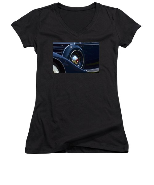 Women's V-Neck T-Shirt (Junior Cut) featuring the photograph Packard - 1 by Dean Ferreira