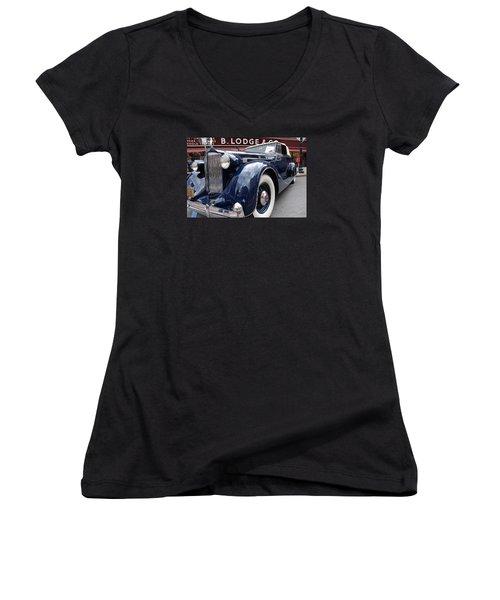 Women's V-Neck T-Shirt (Junior Cut) featuring the photograph Packard 1207 Convertible 1935 by John Schneider