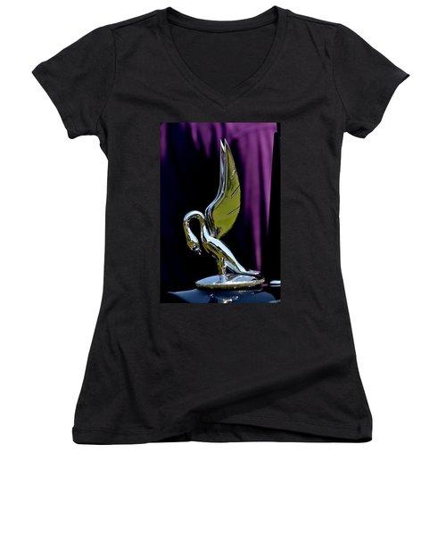 Women's V-Neck T-Shirt (Junior Cut) featuring the photograph Packard - 3 by Dean Ferreira