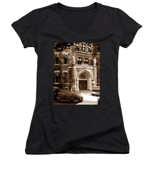 Packard Laboratory Sepia Women's V-Neck T-Shirt