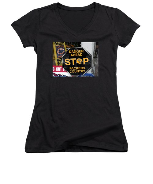 Packers Country Women's V-Neck T-Shirt (Junior Cut) by Kay Novy