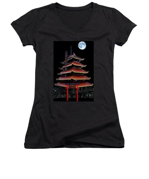 Pagoda Women's V-Neck T-Shirt (Junior Cut) by DJ Florek