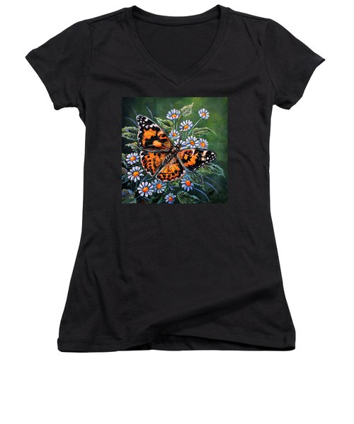 Painted Lady Women's V-Neck T-Shirt (Junior Cut) by Gail Butler
