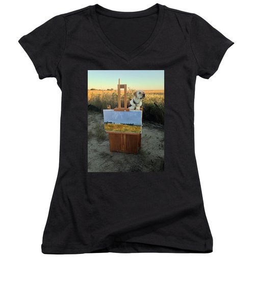 Painterly Lab Women's V-Neck T-Shirt (Junior Cut) by Mary Ward