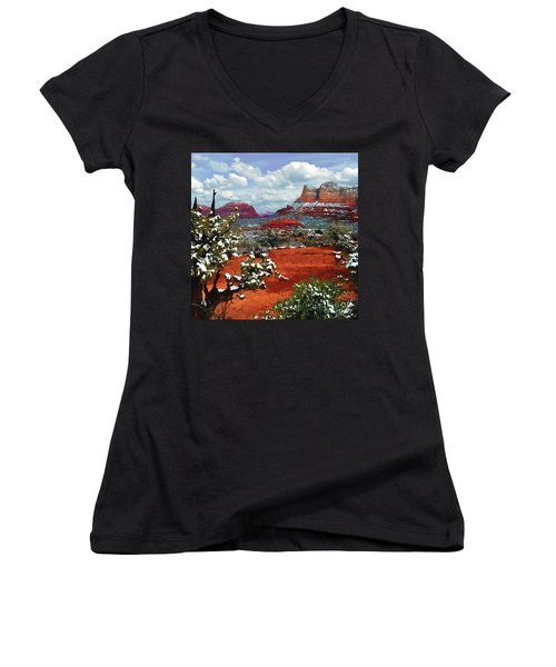 Painting Secret Mountain Wilderness Sedona Arizona Women's V-Neck (Athletic Fit)