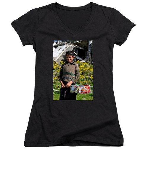 Women's V-Neck T-Shirt (Junior Cut) featuring the photograph Pakistani Boy In Front Of Hotel Ruins In Swat Valley by Imran Ahmed
