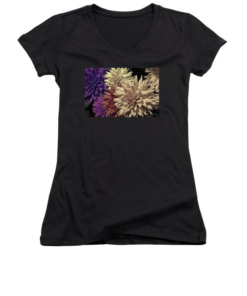 Pale Dahlias Women's V-Neck