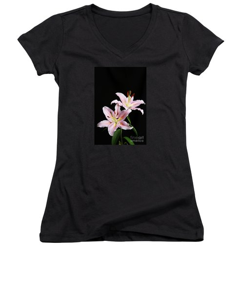 Pale Pink Asiatic Lilies Women's V-Neck T-Shirt (Junior Cut) by Judy Whitton