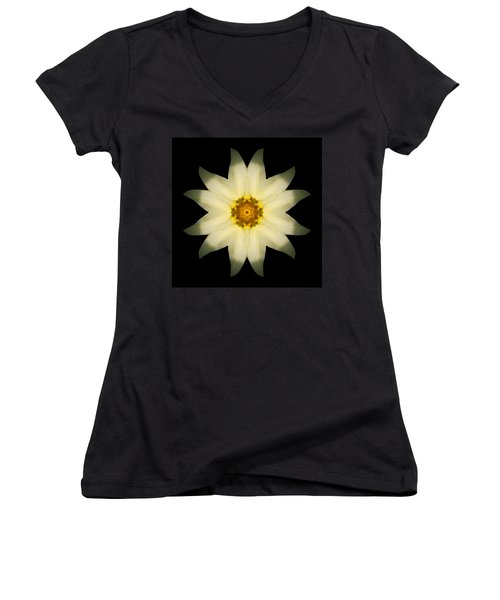 Women's V-Neck T-Shirt (Junior Cut) featuring the photograph Pale Yellow Daffodil Flower Mandala by David J Bookbinder