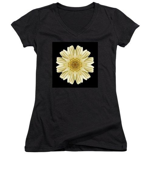 Pale Yellow Gerbera Daisy IIi Flower Mandala Women's V-Neck