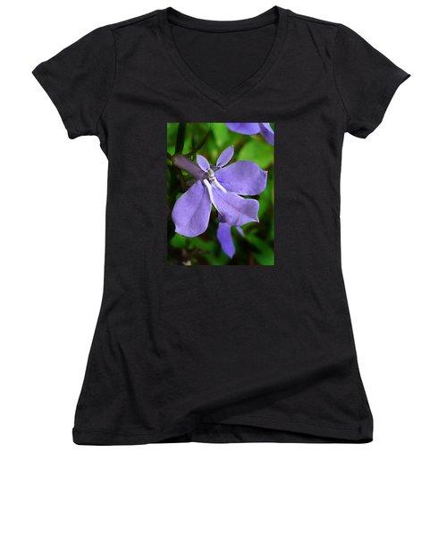 Wild Palespike Lobelia Women's V-Neck T-Shirt (Junior Cut) by William Tanneberger