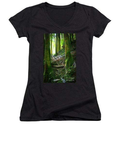Women's V-Neck T-Shirt (Junior Cut) featuring the photograph Palm Forest by Ellen Cotton