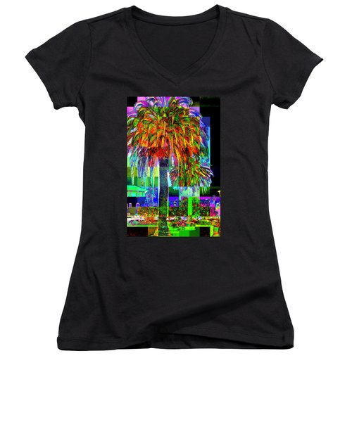 Palm Tree Women's V-Neck T-Shirt (Junior Cut) by Jodie Marie Anne Richardson Traugott          aka jm-ART