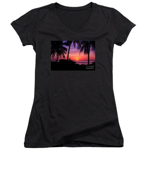 Palm Tree Sunset In Paradise Women's V-Neck T-Shirt