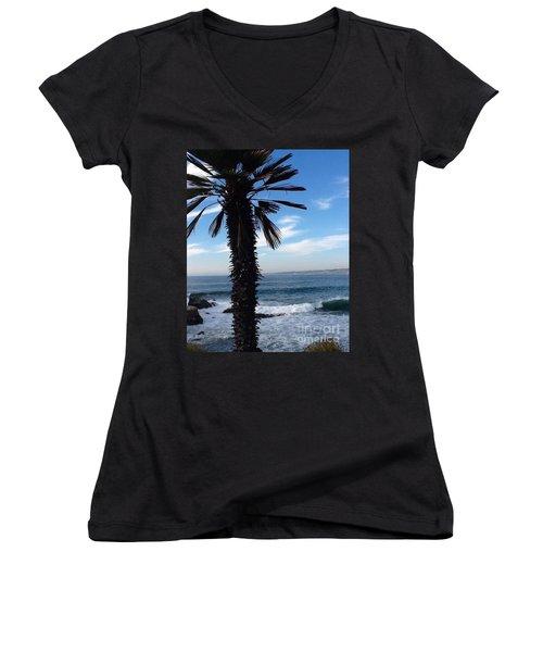 Palm Waves Women's V-Neck T-Shirt (Junior Cut) by Susan Garren