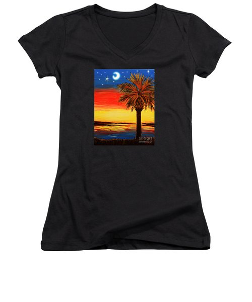 Palmetto Moon And Stars Women's V-Neck T-Shirt (Junior Cut) by Patricia L Davidson